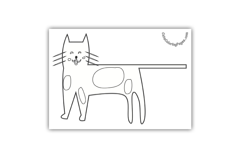 Smiling Spotted Cat Coloring Page