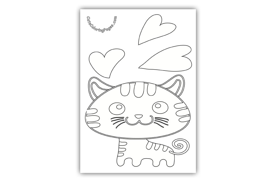 Kitten in Love Coloring Page