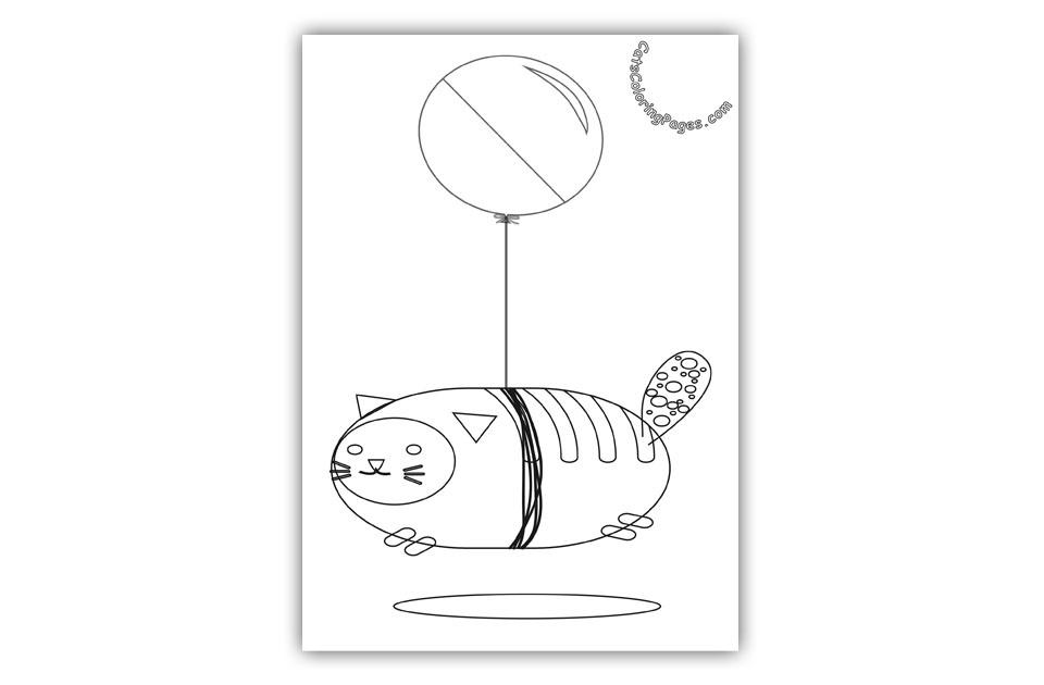 Flying Balloon Cat Coloring Page