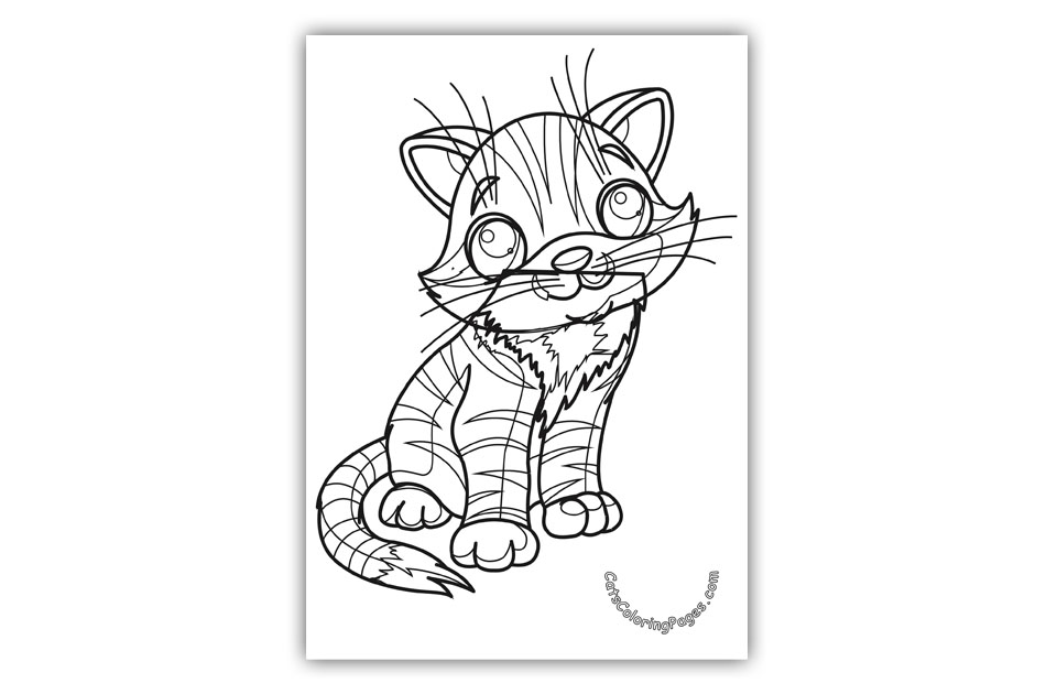 Cute Big Eyed Kitten Coloring Page