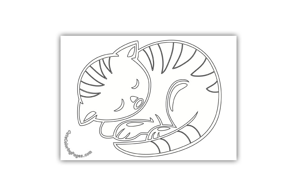 Sleeping Tabby Cat Coloring Page Cats Coloring Pages