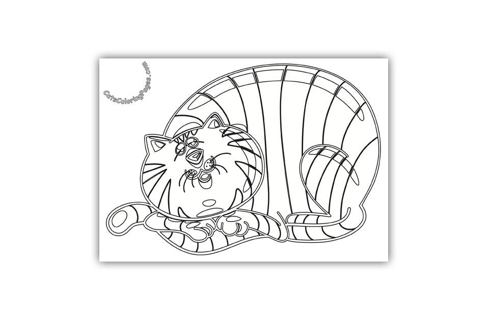 Sleepy Tabby Tomcat Coloring Page