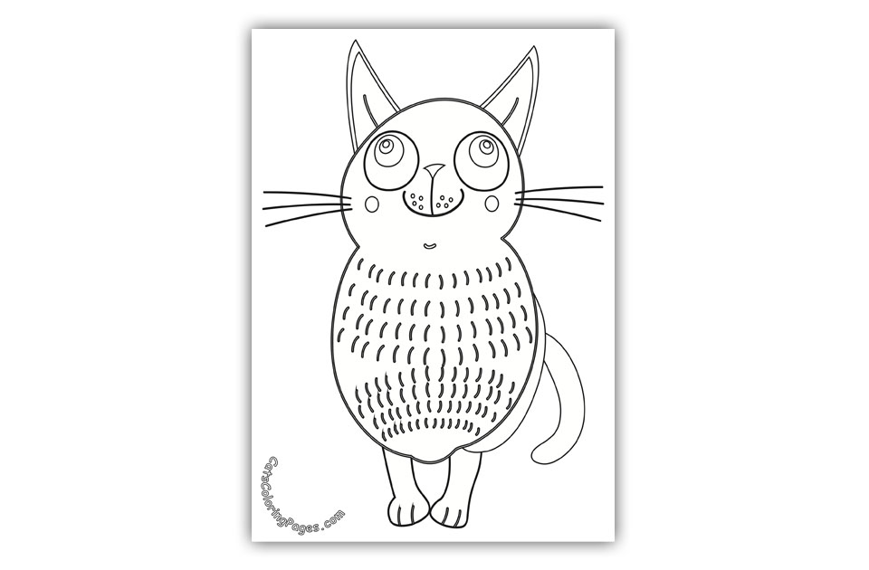 Dreaming Cat Coloring Page