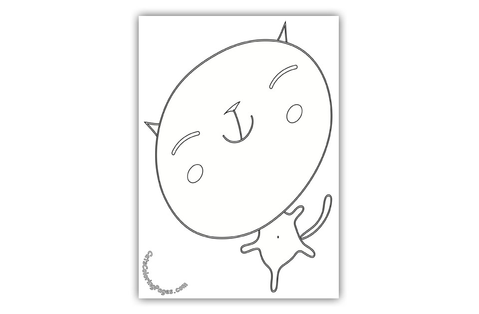 Happy Big Headed Kitten Coloring Page
