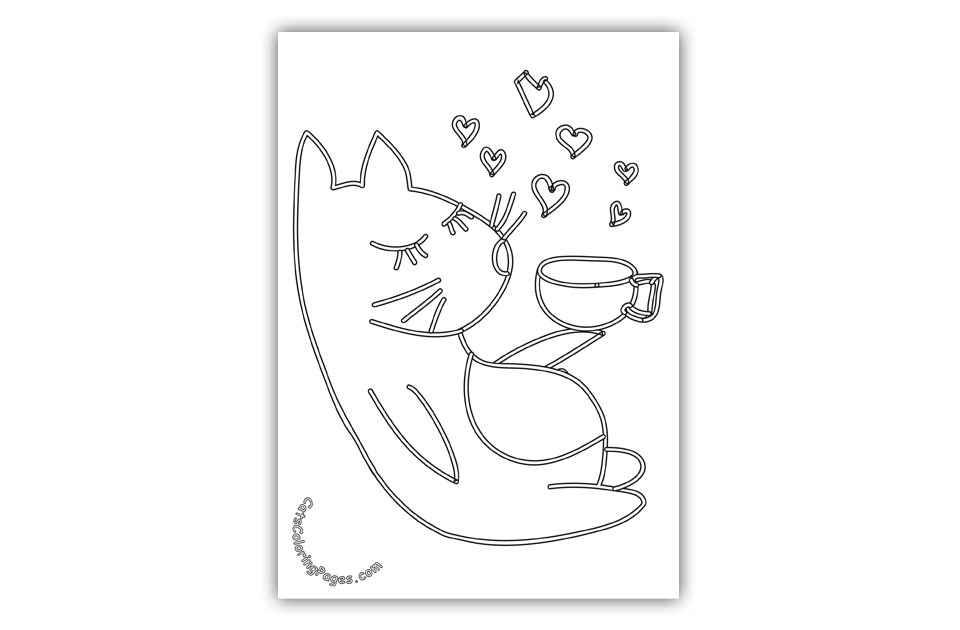 Tomcat in Love Coloring Page
