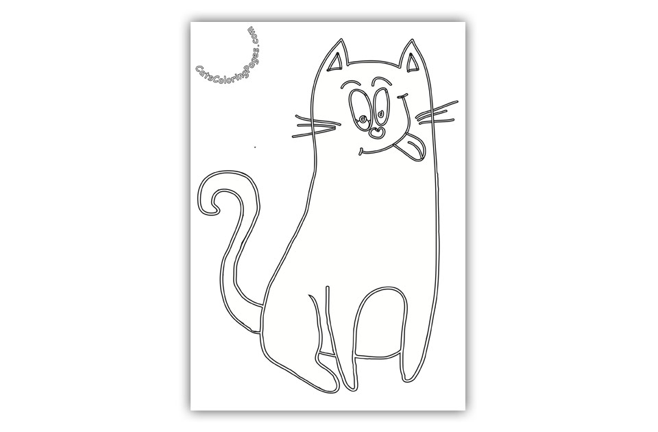 Happy Pink Cat Coloring Page