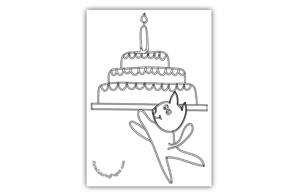 Cat with Birthday Cake Coloring Page