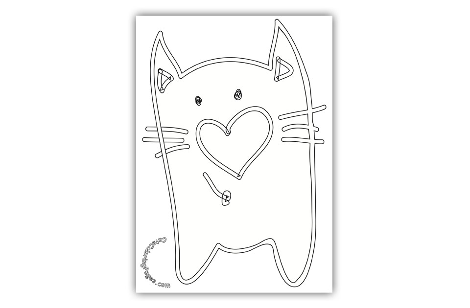 Old Tomcat in Love Coloring Page