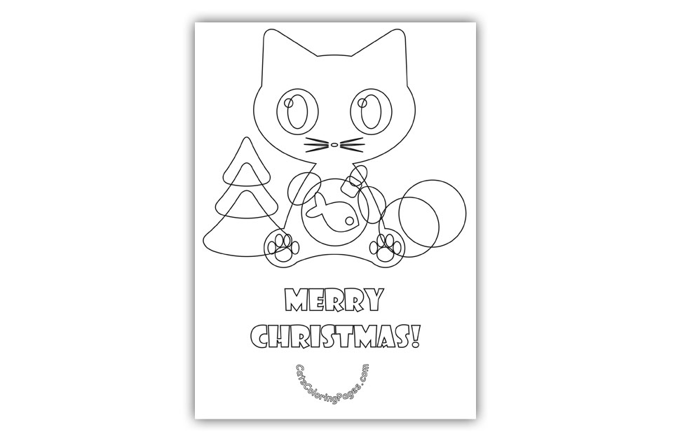 merry christmas cat card coloring page