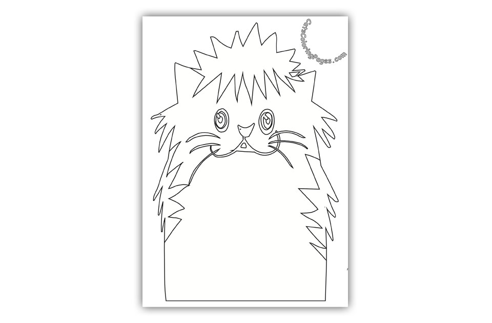 Fluffy Kitten Coloring Page