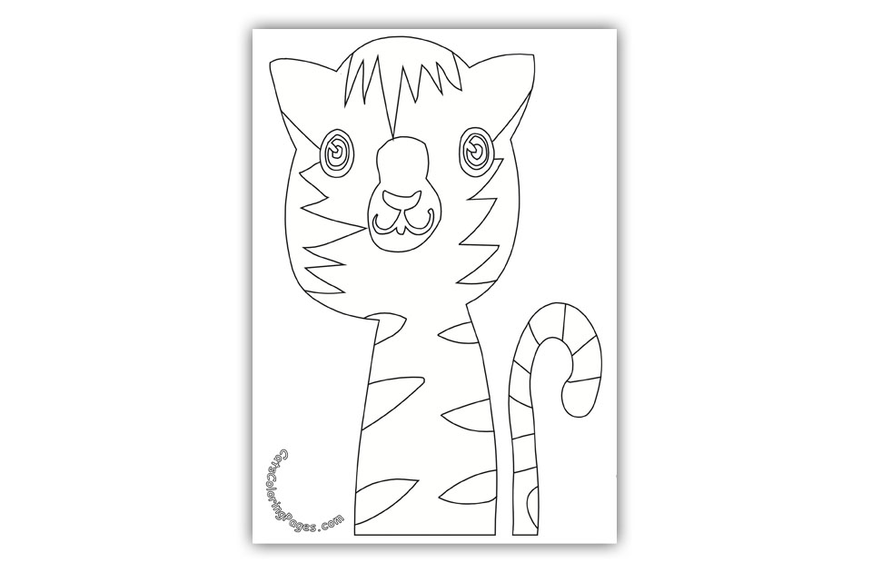 Curious Tabby Cat Coloring Page