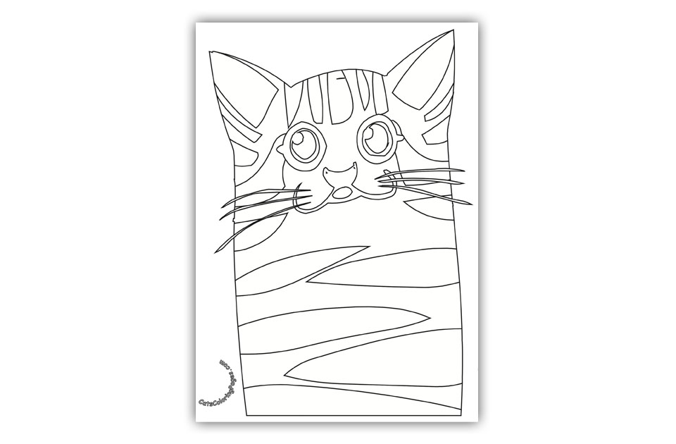 Old Spotted Cat Coloring Page