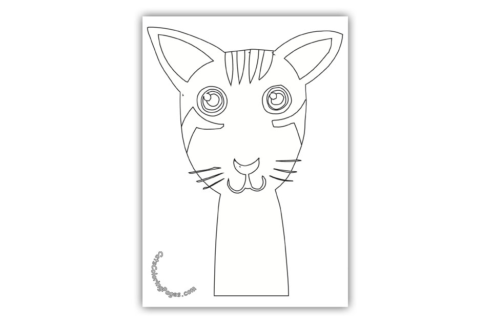 Big Eyed Kitten Tomcat Coloring Page