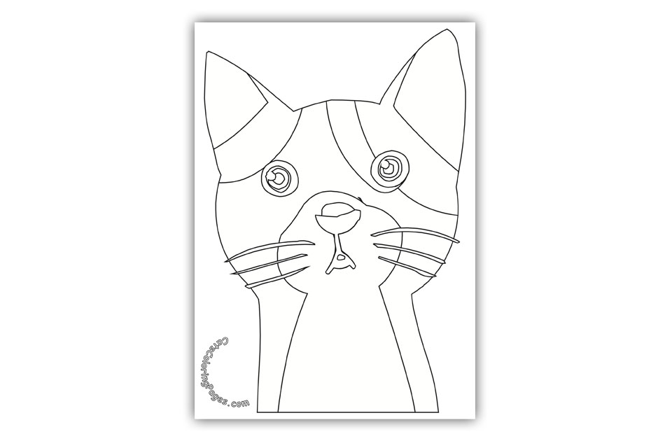 Two Colored Eyed Cat Coloring Page