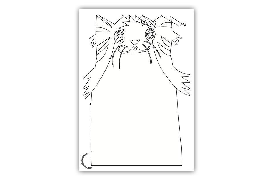Happy Senior Cat Coloring Page