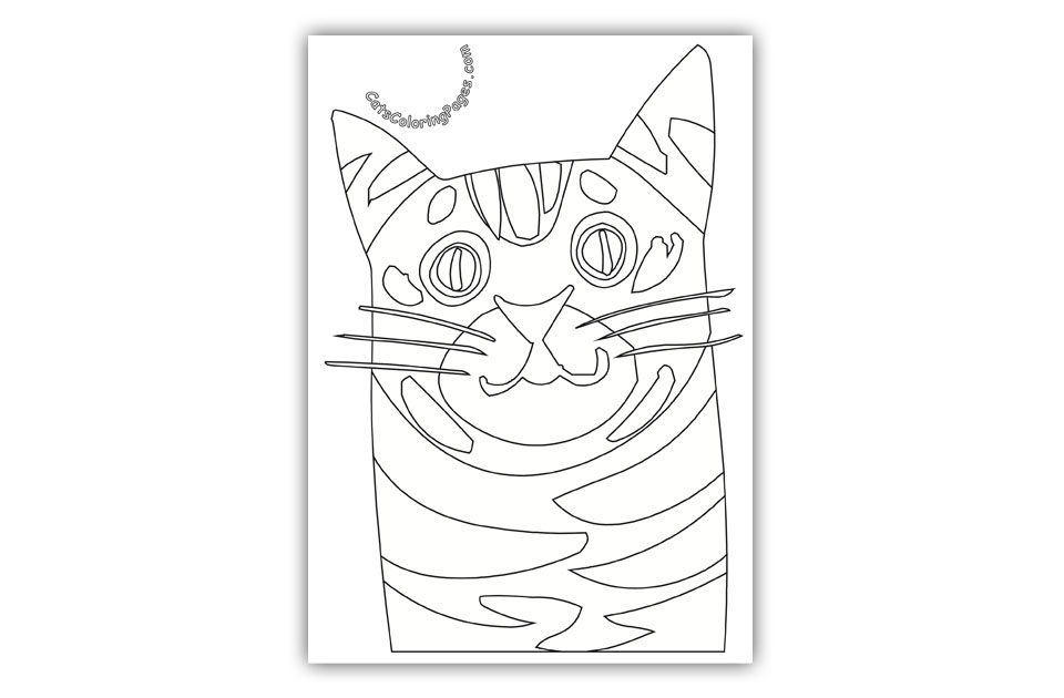 Spotted Senior Cat Coloring Page