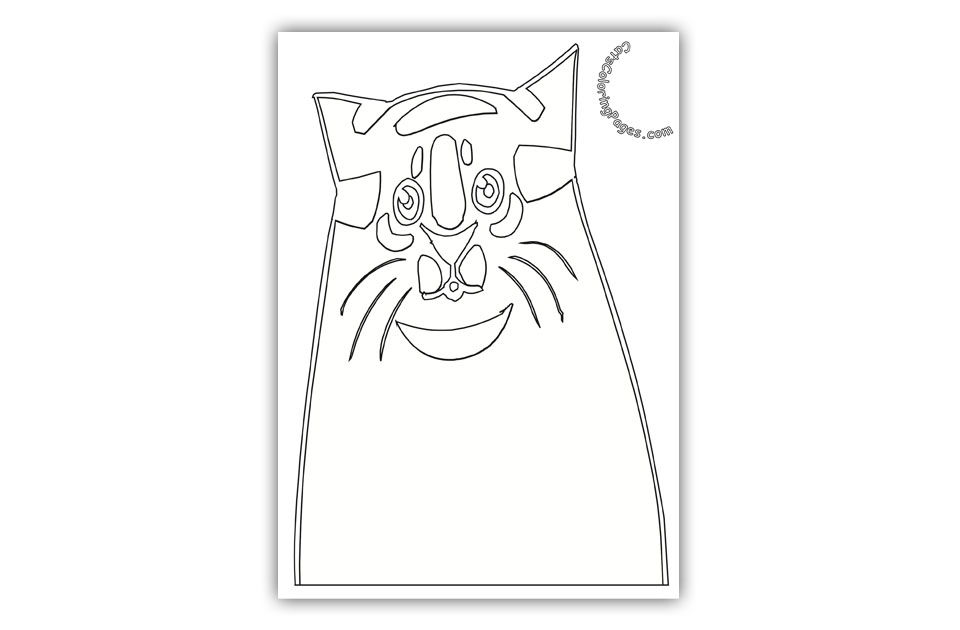 Happy Senior Fat Cat Coloring Page