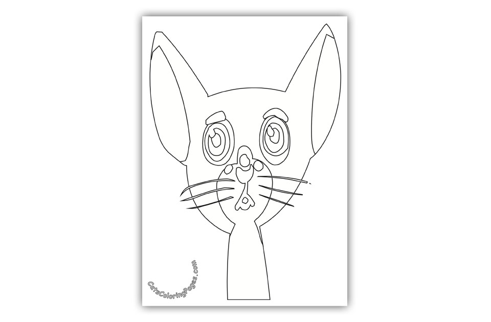 Curious Slim Cat Coloring Page
