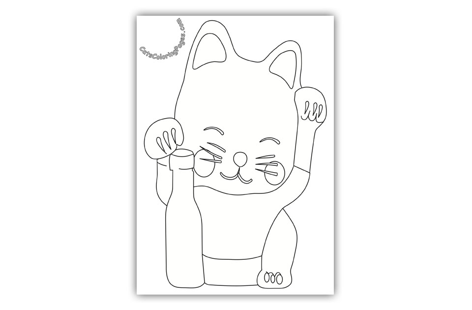 Japanese Cat Maneki-Neko Coloring Page