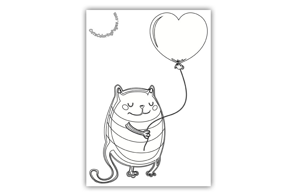 Cat with Pink Balloon Coloring Page