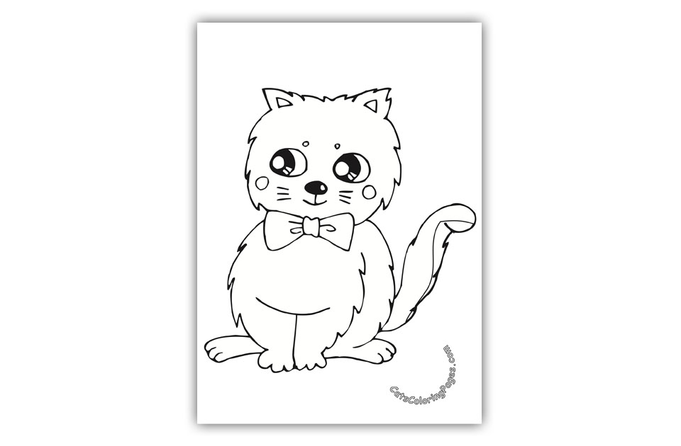 Cat with Bow Tie Coloring Page