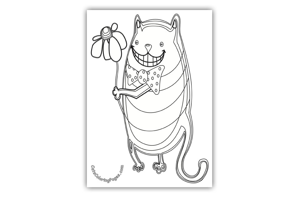 Cat with Flower Coloring Page