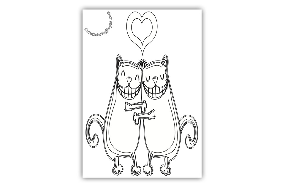 Best Friends Forever Cats Coloring Page