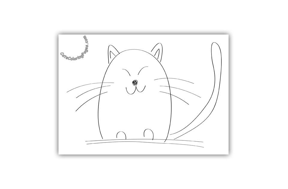 Cute Orange Cat Coloring Page
