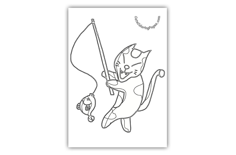 Japanese Fishing Cat Coloring Page