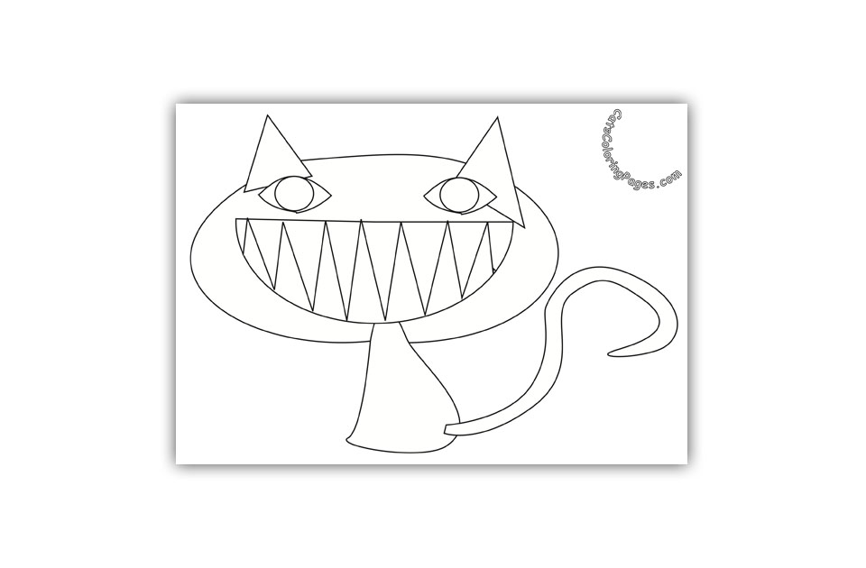 Smiling Orange Cat Coloring Page