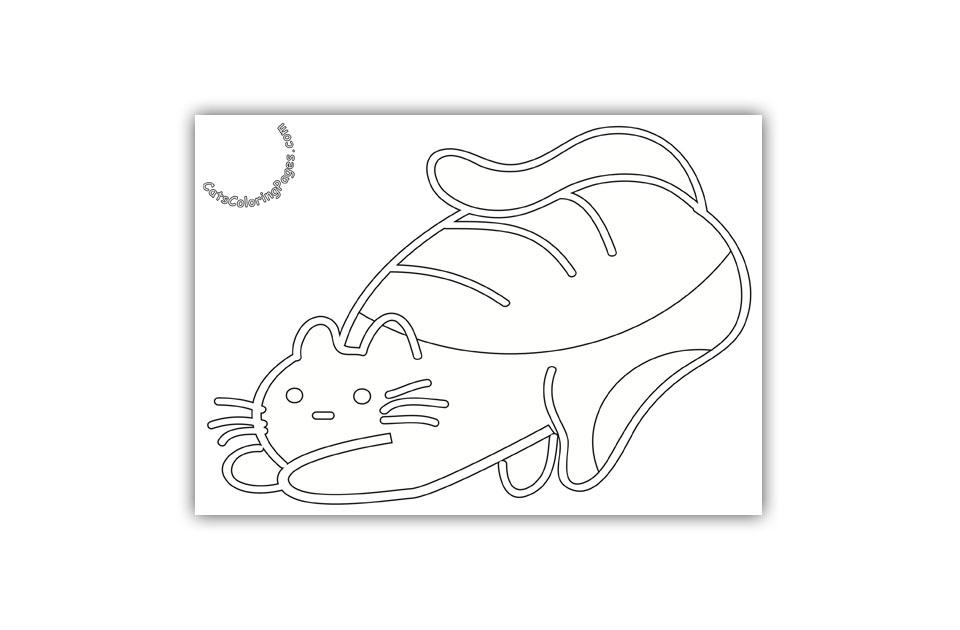 Playful Nice Kitten Coloring Page