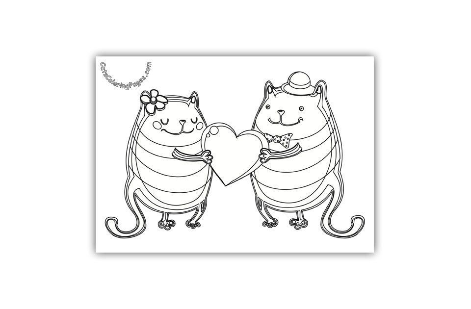 Two Cats and a Heart Coloring Page