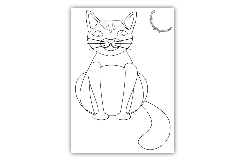 A Pink Fat Cat Coloring Page