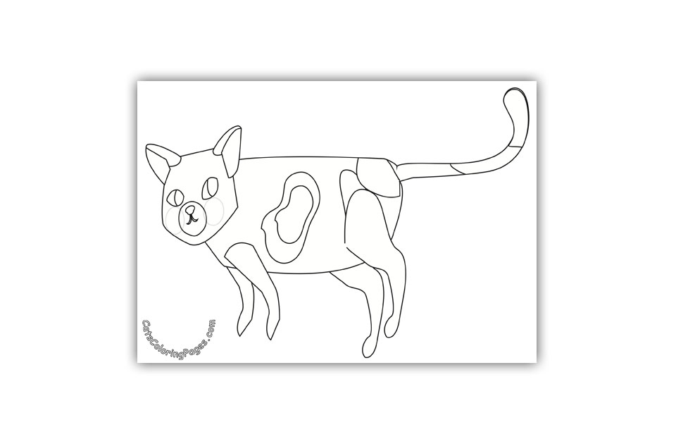 Spotted Cat Searching Coloring Page