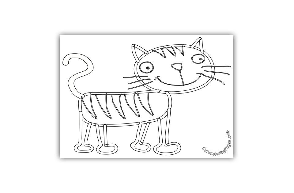 Happy Tiger Cat Coloring Page
