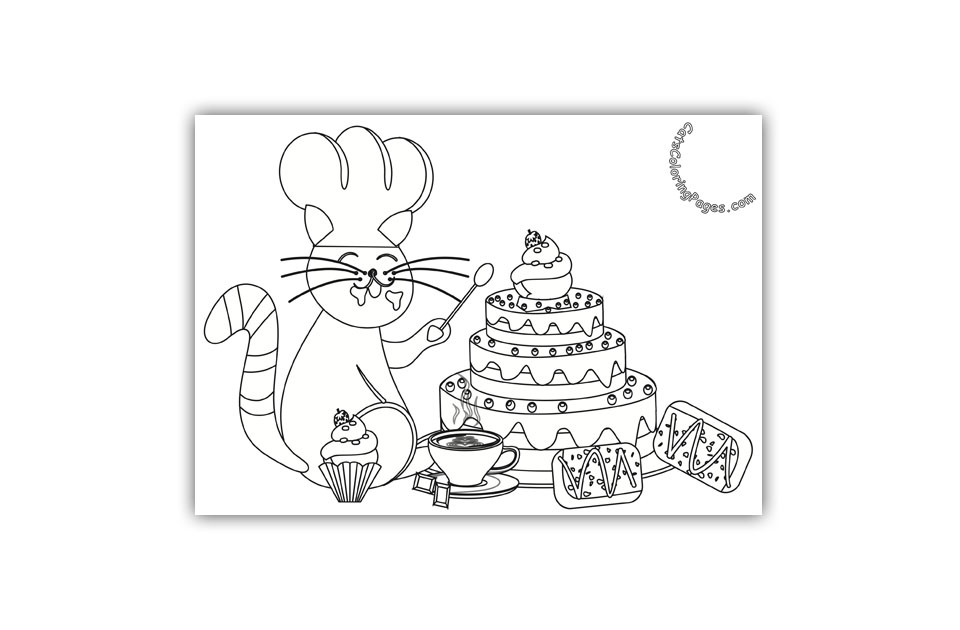 Pastry Chef Cat Coloring Page