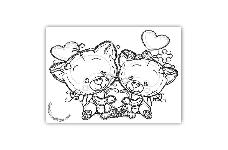 Cute Kittens in Love Coloring Page