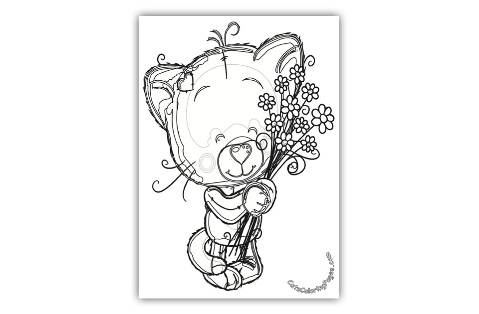 Cute Kitten with Flowers Coloring Page