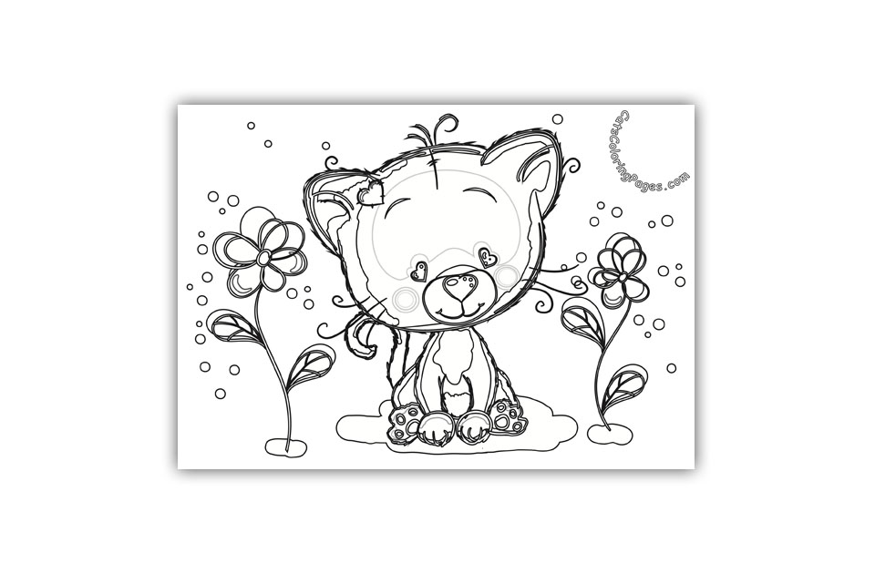 Cute Kitten in The Garden Coloring Page