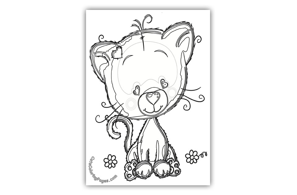 Cute Kitten in Love Coloring Page