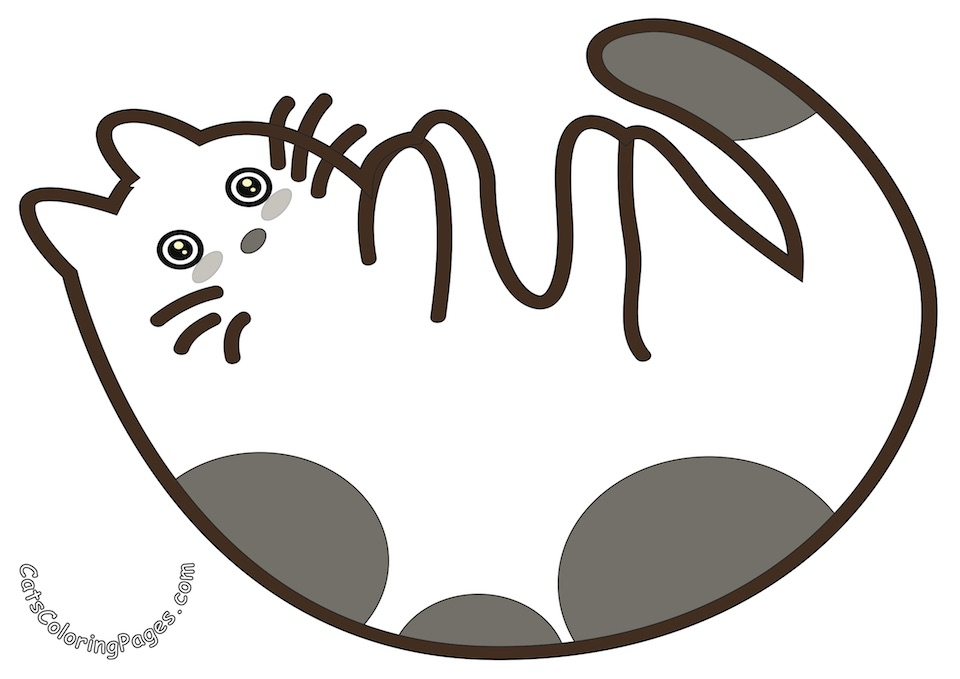 Playful Cat Colored Coloring Page