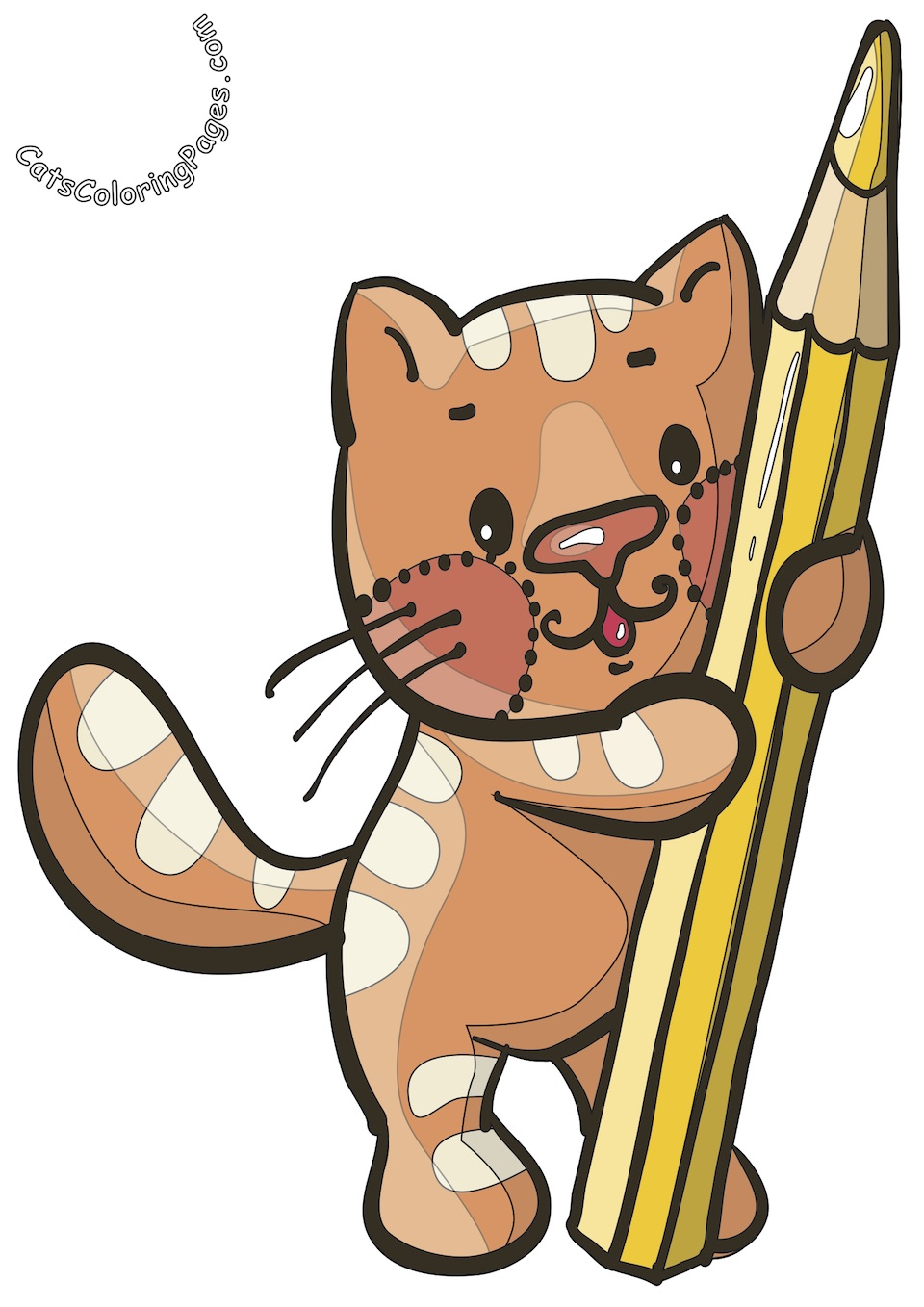 Funny Studious Kitten Colored Coloring Page
