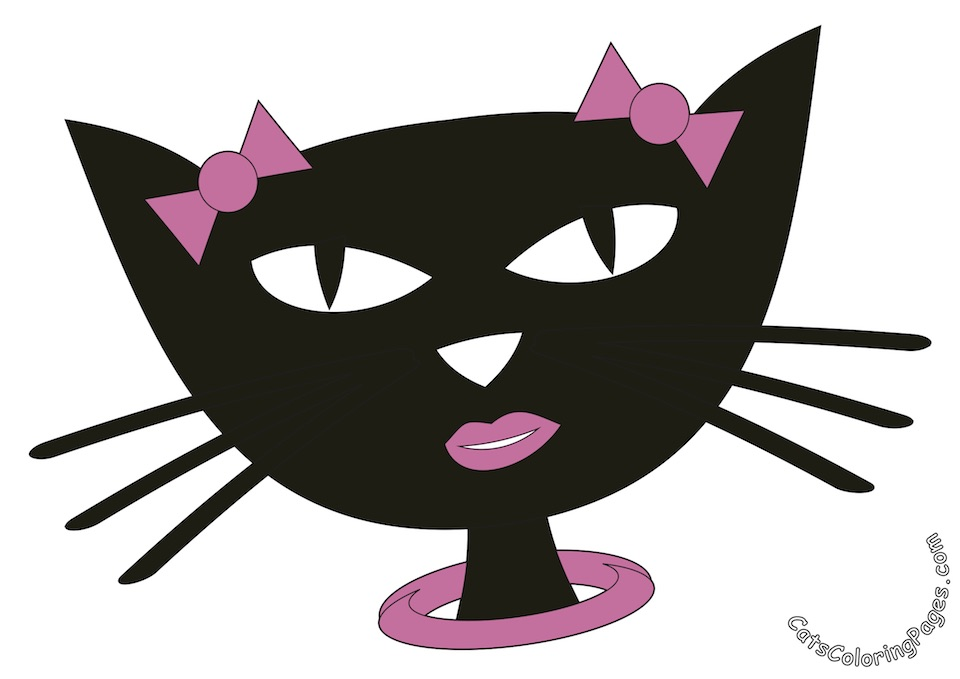 Fancy Black Cat Colored Coloring Page