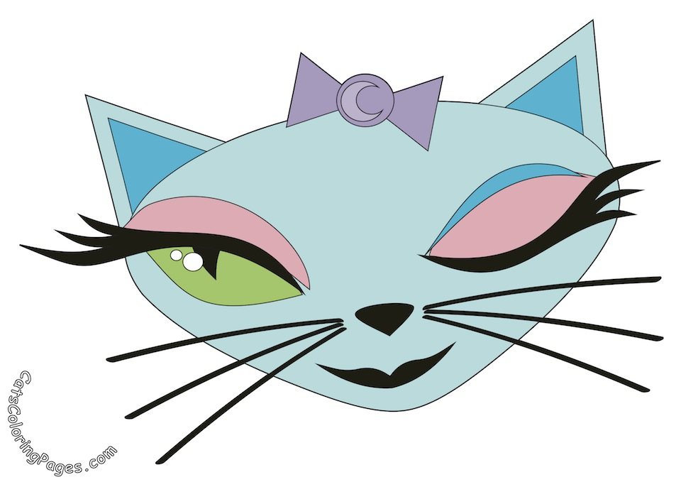 Cute Green Eyed Cat Colored Coloring Page