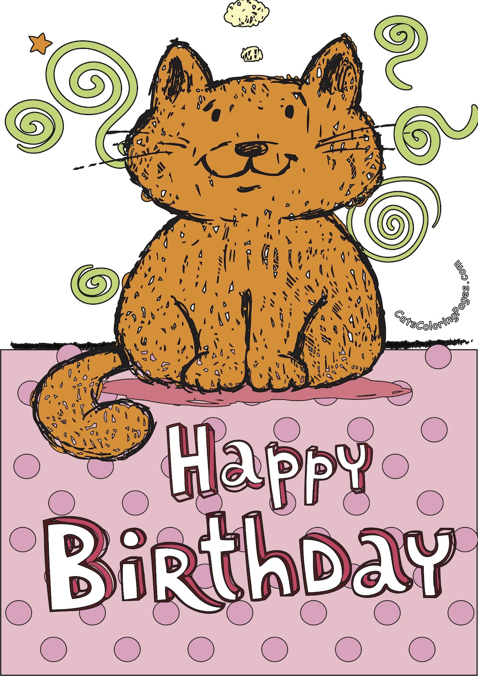 Tomcat Happy Birthday Card Colored Coloring Page