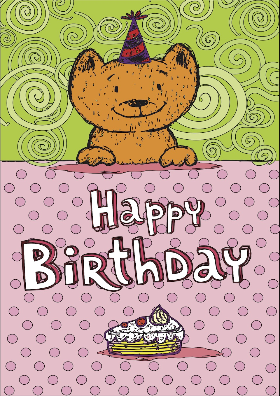 Kitten Happy Birthday Card Coloring Page - Cats Coloring Pages