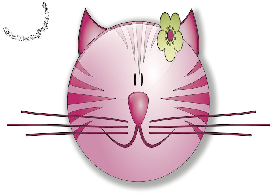 Smiling Fancy Pink Cat Colored Coloring Page