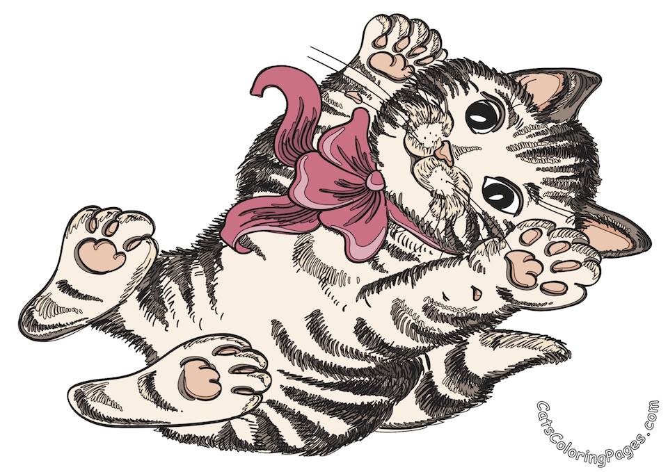 Cute Playful Kitten Colored Coloring Page