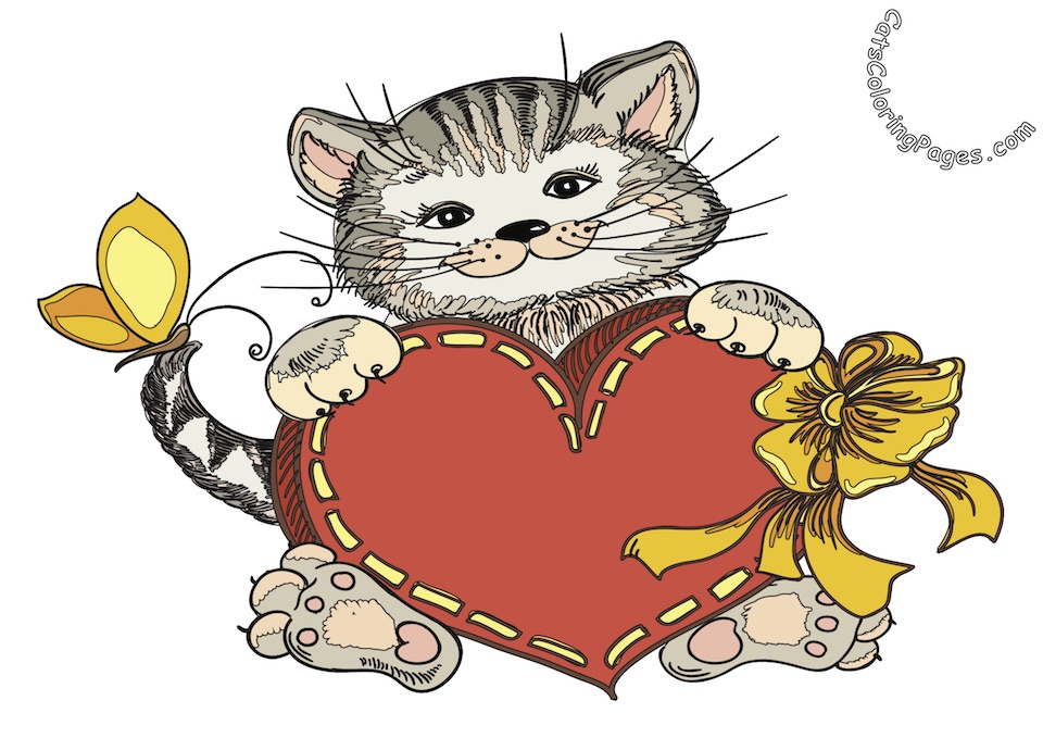 Loving Playful Kitten Colored Coloring Page
