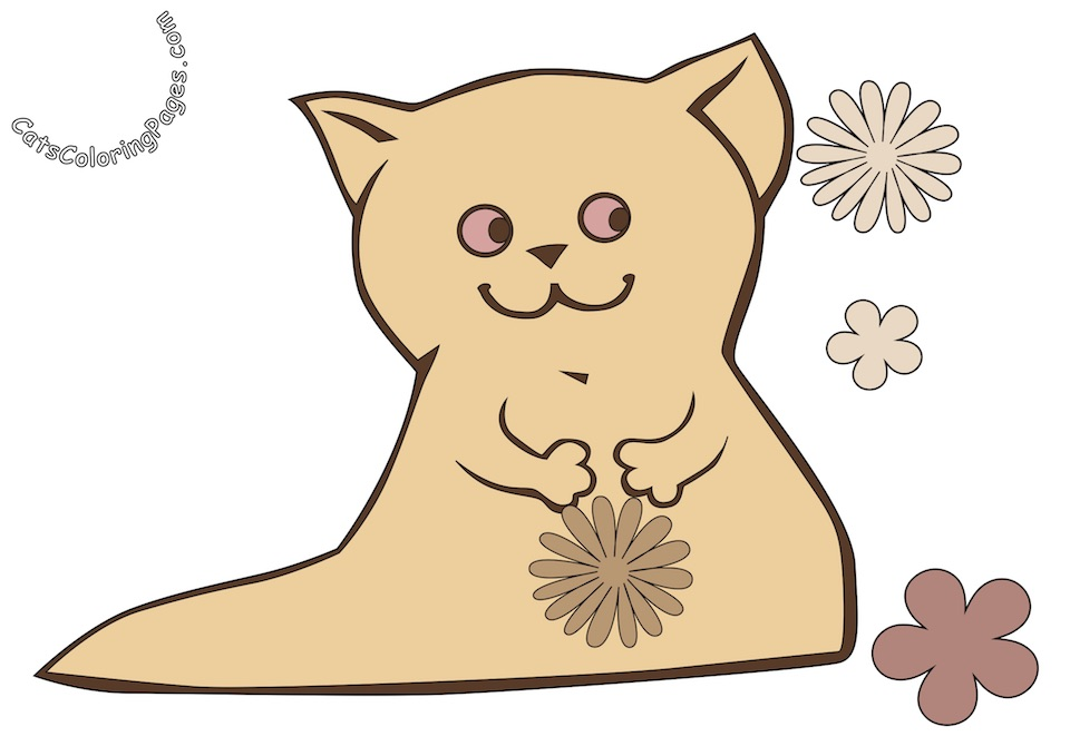 Happy Kitten with Flower Colored Coloring Page